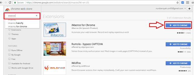 Cara memasang imacros di browser