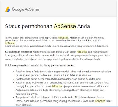 Balasan Email Google Adsense Yang Ditolak