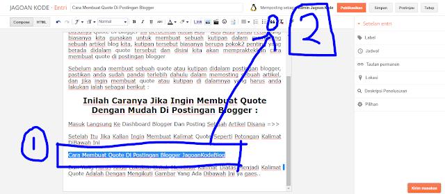 Membuat Quote Di Postingan Blogger