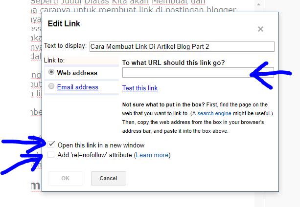 Cara Membuat Link Di Postingan Blogger
