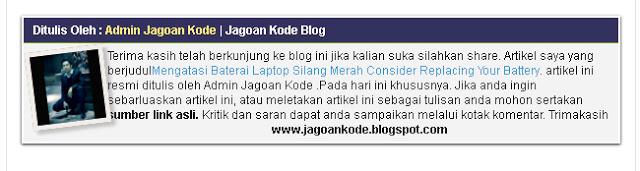 Cara Membuat Kotak Author Profile Blogger