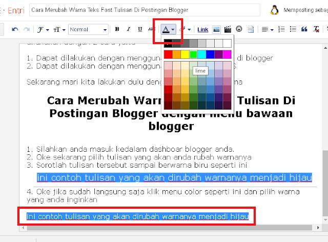 cara merubah warna font tulisan artikel blog