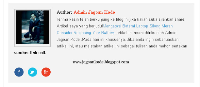 Cara Membuat Kotak Profile Author Blogger