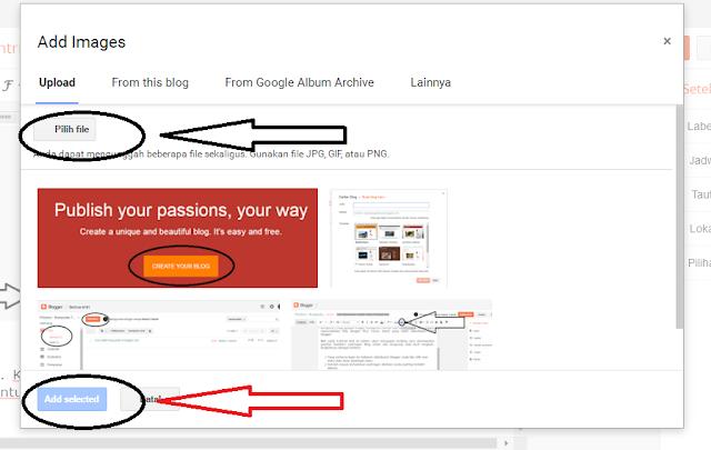 Cara Memasukkan Gambar Di Postingan Blogger