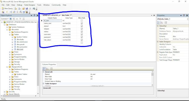 Cara Membuat Tabel Di Database SQL SERVER