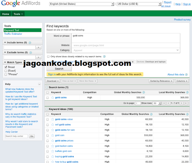 Seo Tools Riset Keyword Dengan Google Adword/Keyword Planner