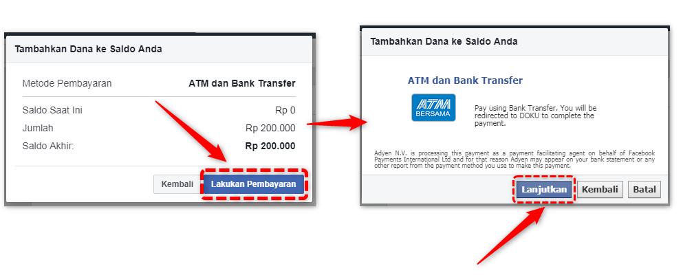 Pembayaran Saldo Ke Facebook ads