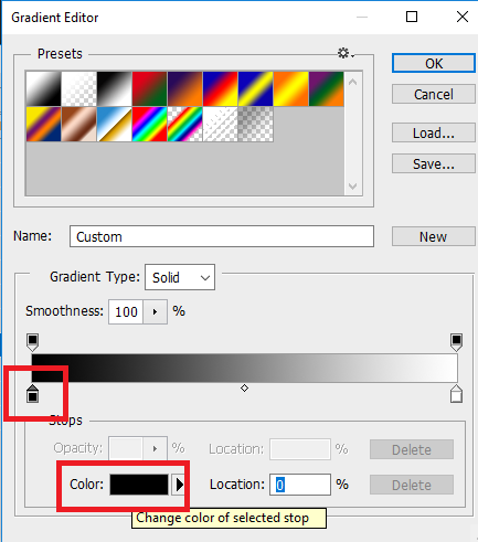 gradient editor diphotoshop CS6