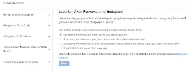 melaporkan akun instagram