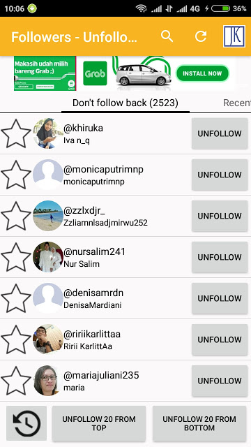 Unfollow Teman Yang Tidak Follow Back