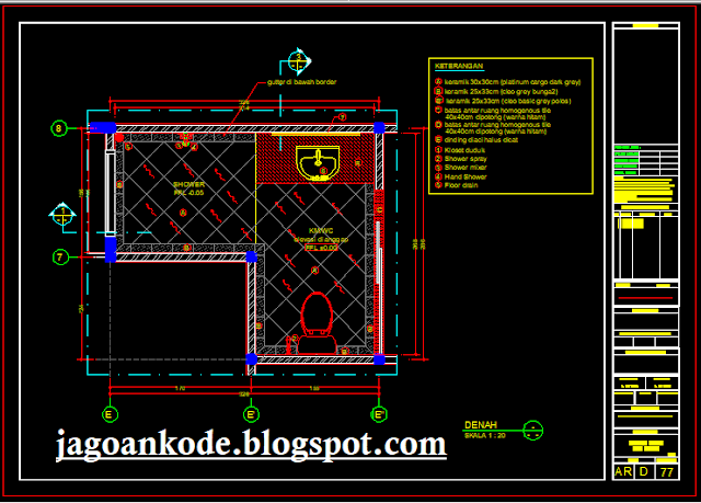 Desain Denah Kamar Mandi/WC Lantai Bawah (WC Bawah Tangga)