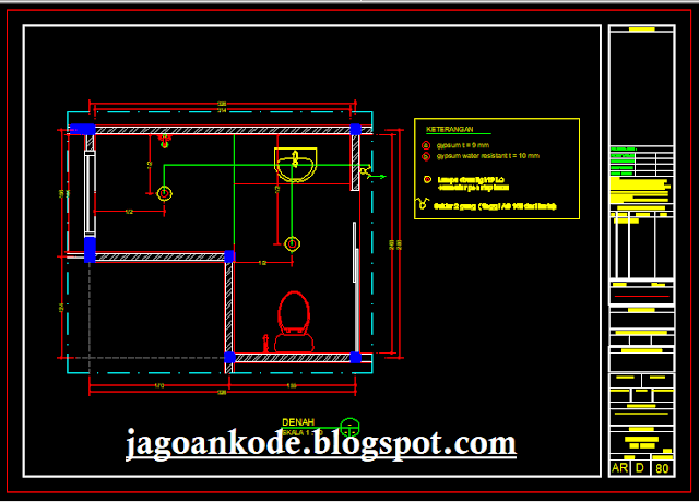 Rencana Denah Instalasi Listrik Kamar Mandi/WC Lantai Bawah