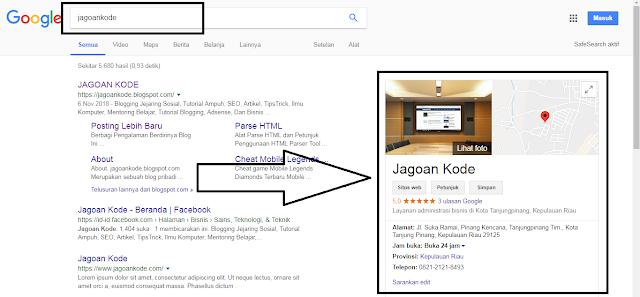 Membuat Google Bisnis - Hasil Penelusuran Nama Blog Di Kanan