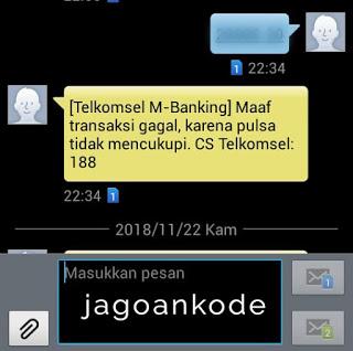 Transaksi SMS Banking BNI gaga lpulsa tidak cukup