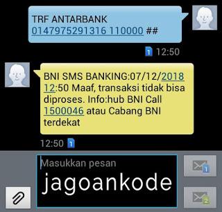 Transaksi SMS Banking BNI Tidak Dapat Diproses