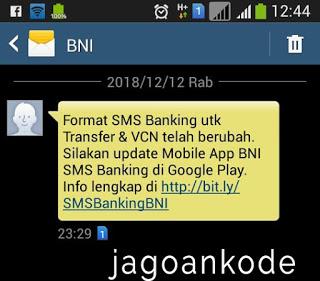gagal smsbanking BNI mengganti format transaksi