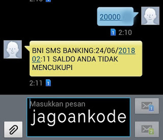 saldo tidak cukup gagal sms banking