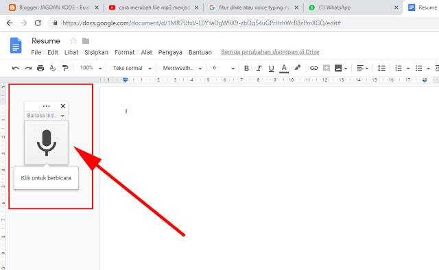 mengatasi tombol voice typing dikte di google docs hilang dan tidak bisa di tekan
