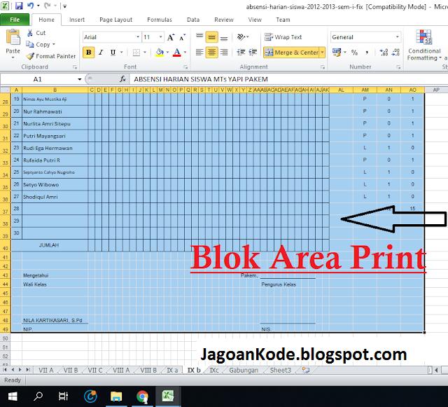cara print file excel full kertas