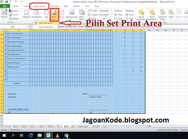 cara print file excel sekaligus