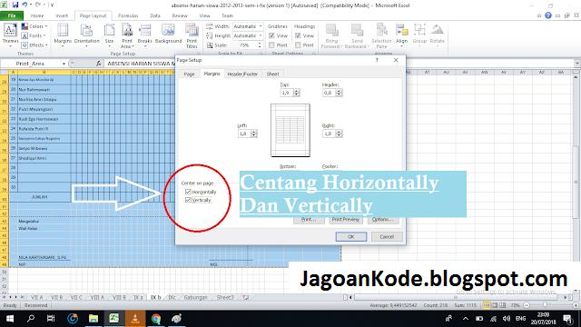 cara print file excel dalam satu halaman