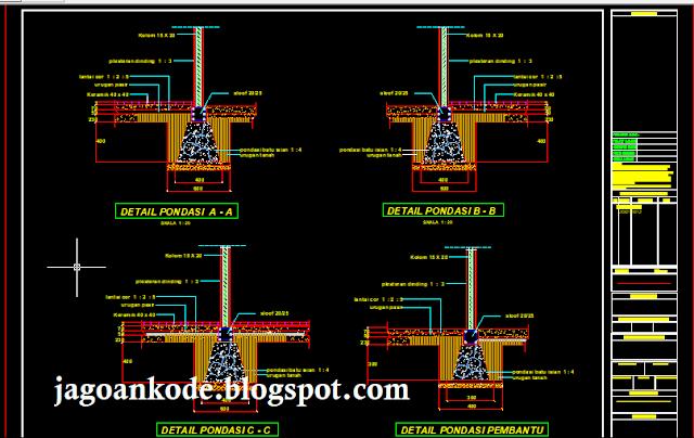 Detail Pondasi Batu Kali Autocad File Dwg