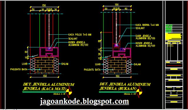 Detail Kusen Jendela Aluminium Autocad Dwg