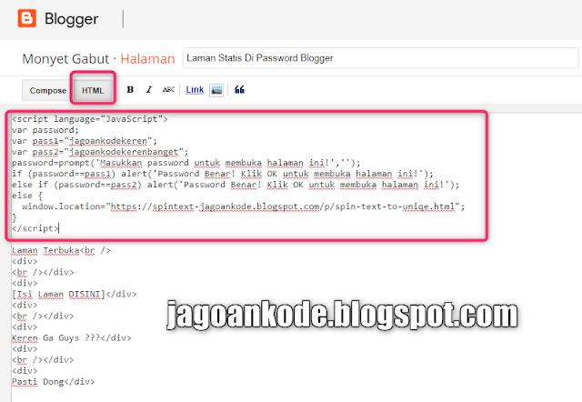 Cara Membuat Password di Halaman Statis Blogger