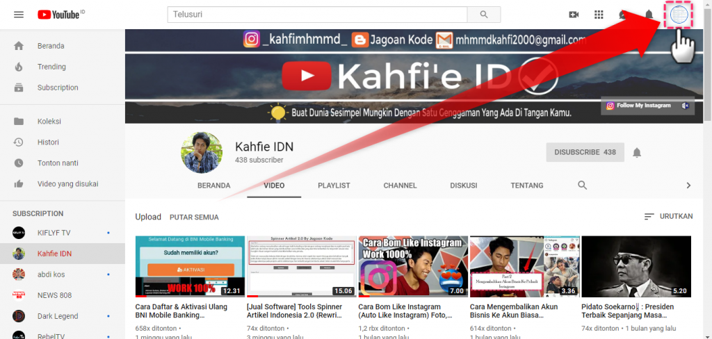 Account Youtube