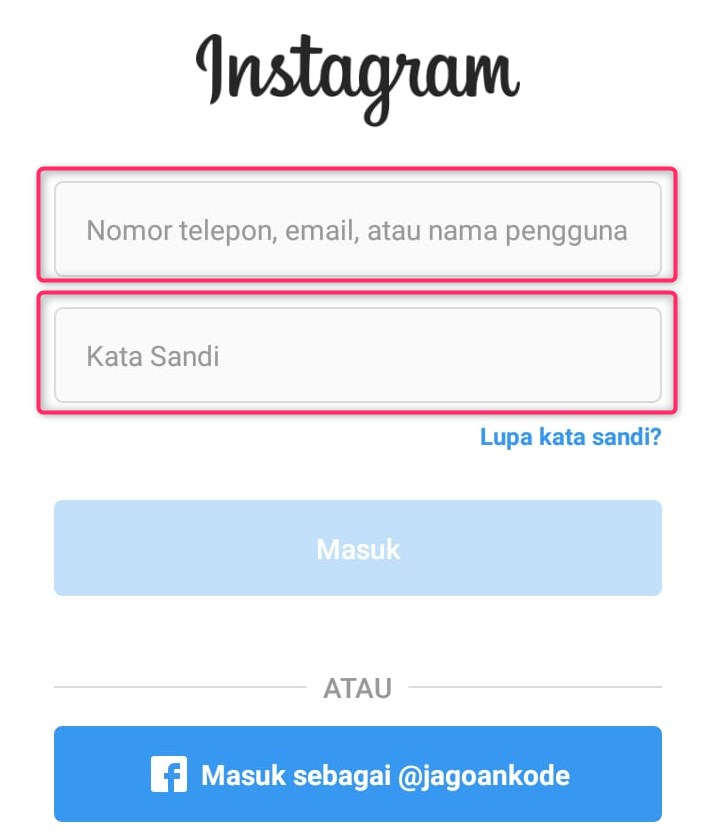 Login Akun Instagram
