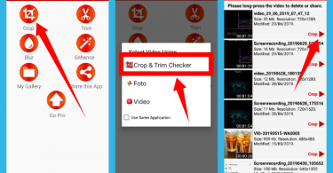 cara crop layar video Android