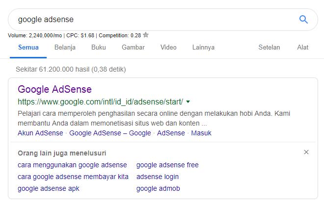 Gambar 2 : Keyword Google Adsense