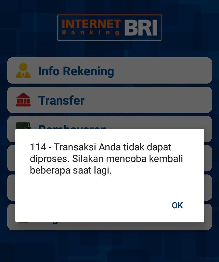 Solusi 114 - Transaksi Anda tidak dapat diproses BRI Internet Banking