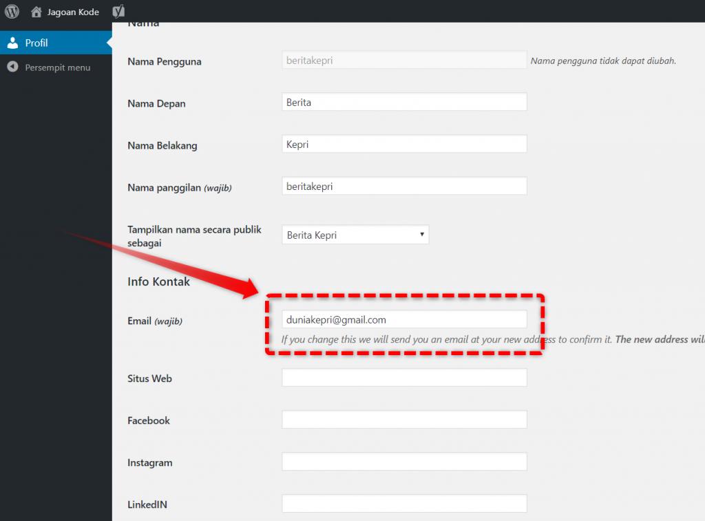Konfigurasi Email