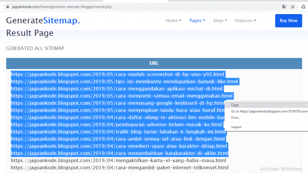 scan seluruh url link konten postingan di blog