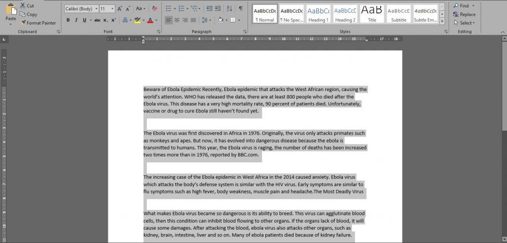 Merapikan Spasi Tulisan di Word