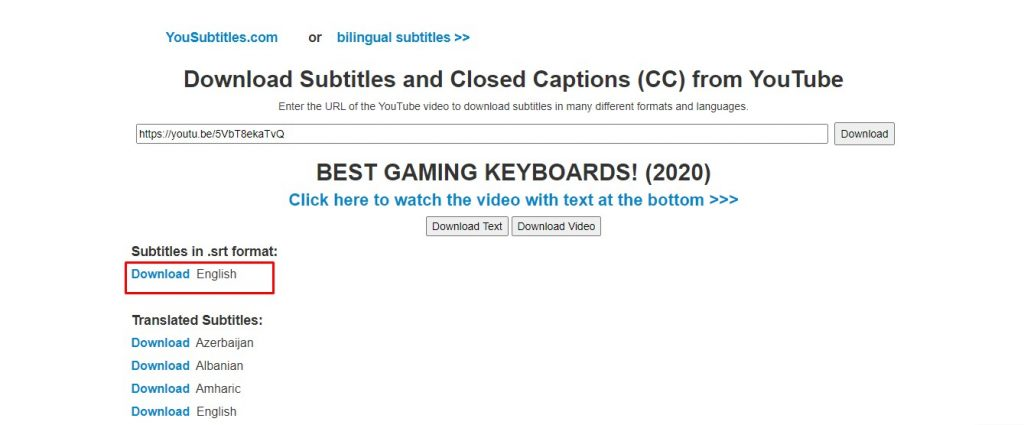 Download Subtitle video  Youtube dengan Yousubtitles