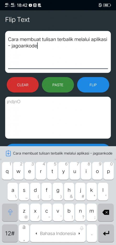Cara Membuat Tulisan Terbalik melalui Aplikasi