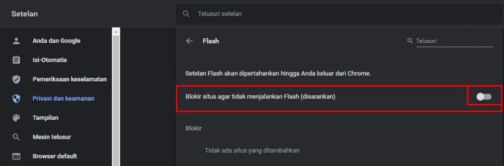 altifkan flash plugin