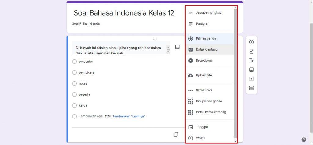 pilihan jawaban Google Forms