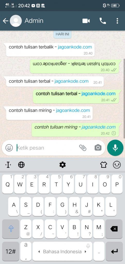 Cara Membuat Tulisan Terbalik, Tebal, Miring dan Coret di WhatsApp