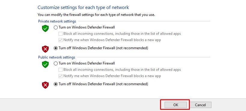 Matikan Firewall Sementara