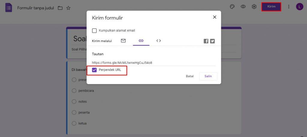 cara membagikan link Google Forms