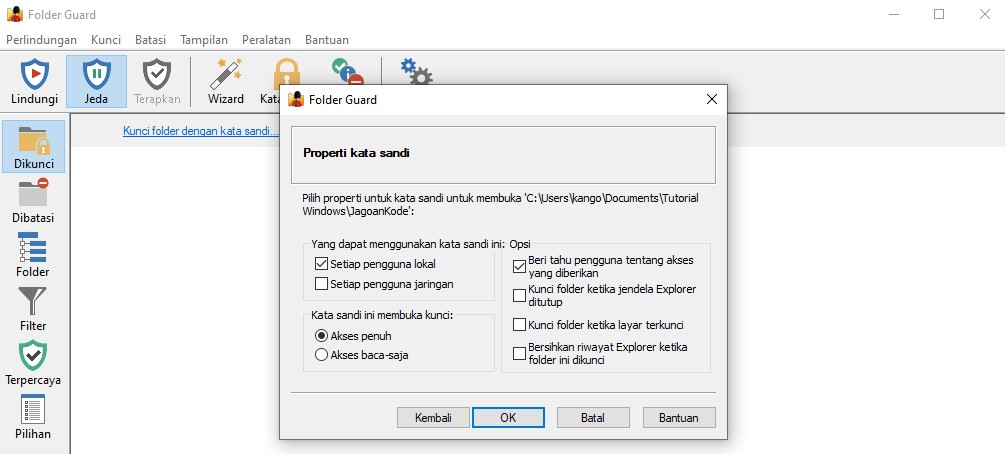 cara mengamankan folder penting di windows