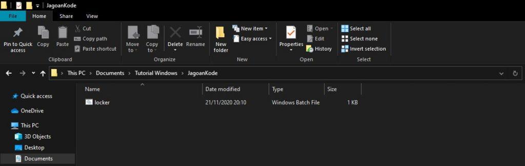 mengamankan folder dengan notepad
