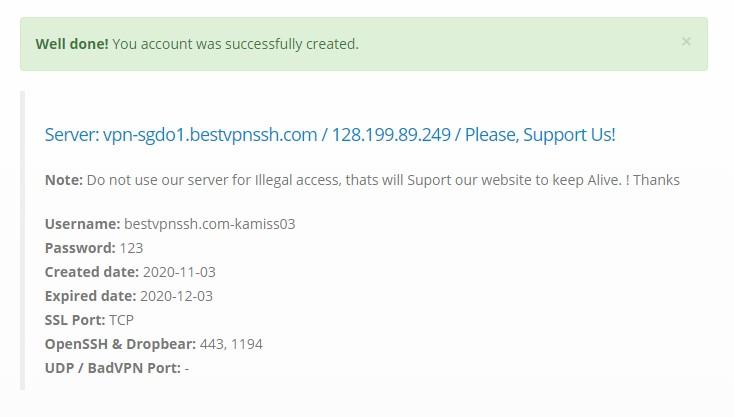 Membuat Akun SSH di bestvpnssh