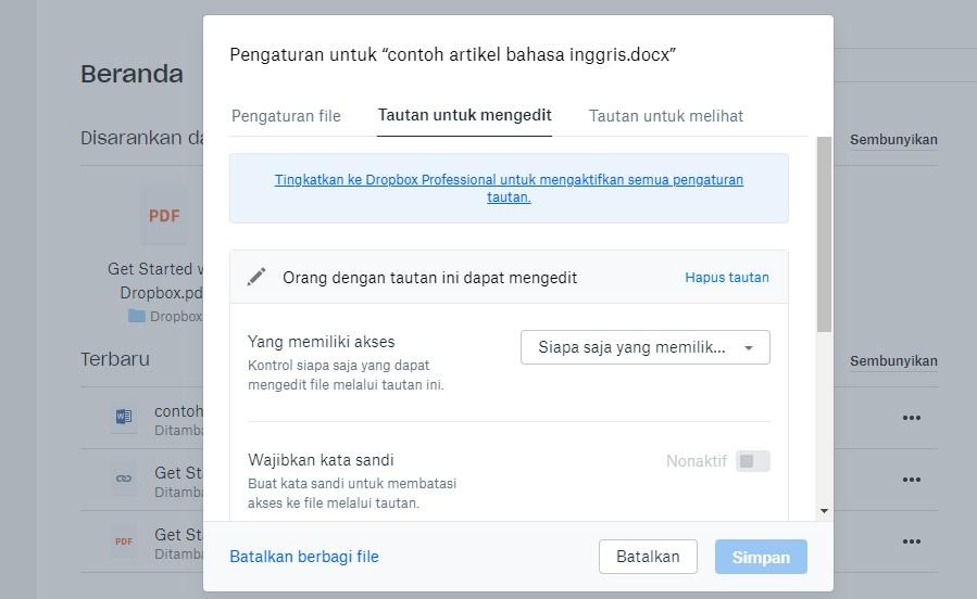 cara membagikan file dropbox