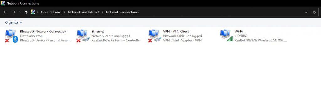 Cek MAC Address melalui Control Panel