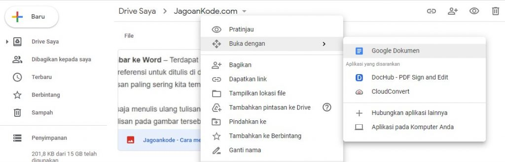 Menggunakan Google Drive