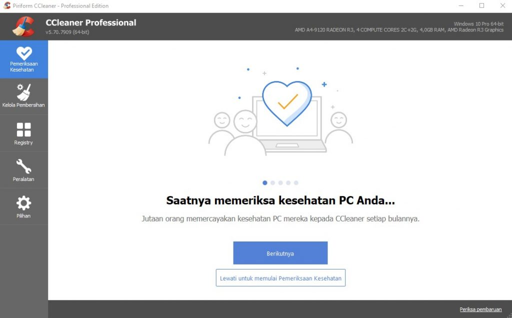 Menggunakan aplikasi CCleaner